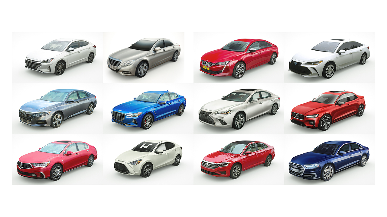 12 sedans v1 3D model