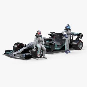3D 2019 mercedes f1 model