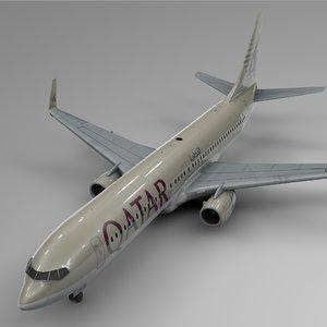 qatar airways boeing 737-800 3D