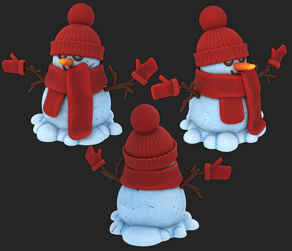 snowman knitted hat gloves model