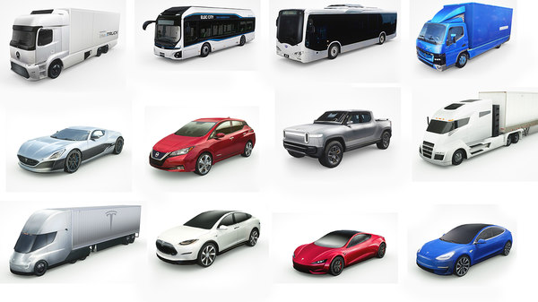 12 electric vehicles 3D