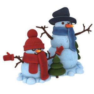 3D snowmen decorative christmas trees