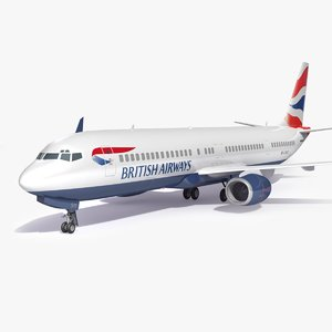 3D british airways airplane aircraft