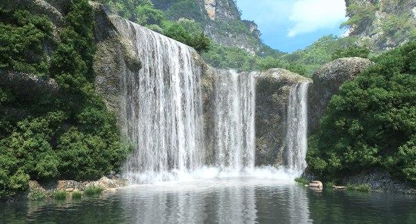 3D model waterfall fall water