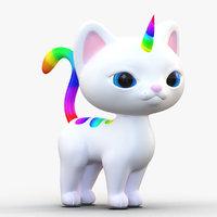 cute cartoon kittycorn rainbow 3D