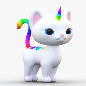 cute cartoon kittycorn rainbow 3D