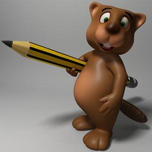 3D cute beaver rigged anime