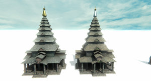 temple - pagoda set model