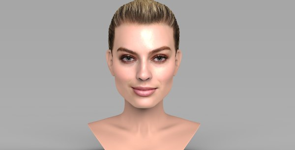 3D model margot robbie bust ready