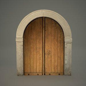 3D medieval arched door