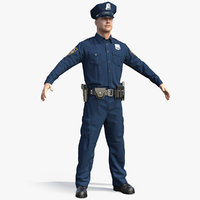 nypd cop t-pose ny 3D