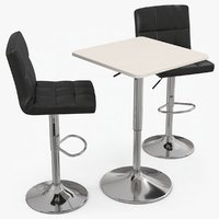 poseur bar table stools 3D model