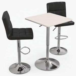 poseur bar table stools 3D model