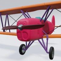 3D model retro airplan