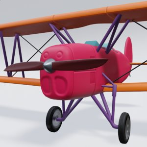 3D model retro airplan
