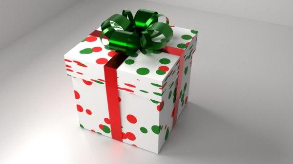 multi-color polka dot gift box 3D model
