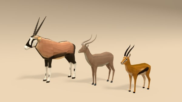 3D model cartoon african antelopes pack