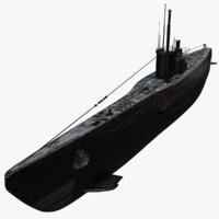 3D german uboat submarine redshift