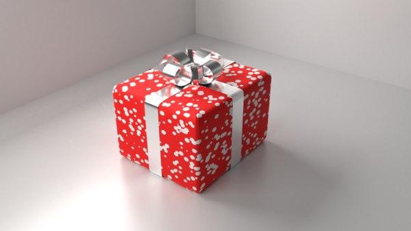 3D red polka dot gift box model