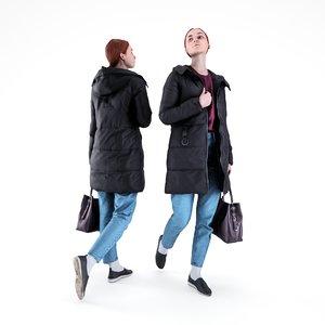 human young woman bag 3D model