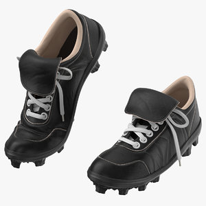 3D baseball cleats black pair