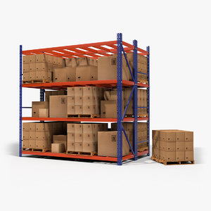 3D warehouse pallet rack model