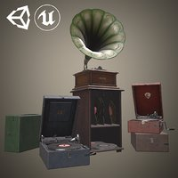3D antique gramophone pack old