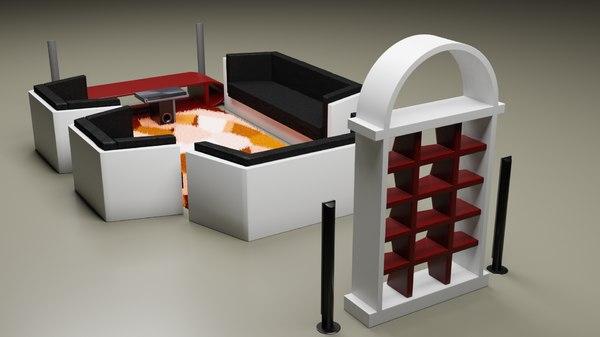 living room assets 3D model