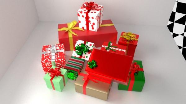 3D multi-color 11 gift boxes