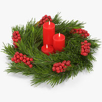 christmas wreath candles 3D model