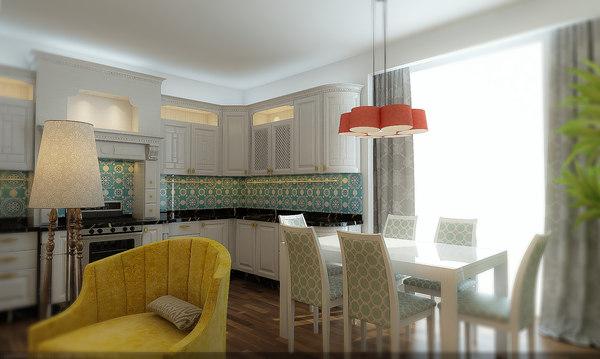 3D loft living room interior kitchen