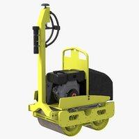 3D road roller compactor machine model