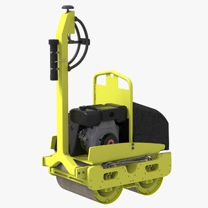 3D road roller compactor machine model