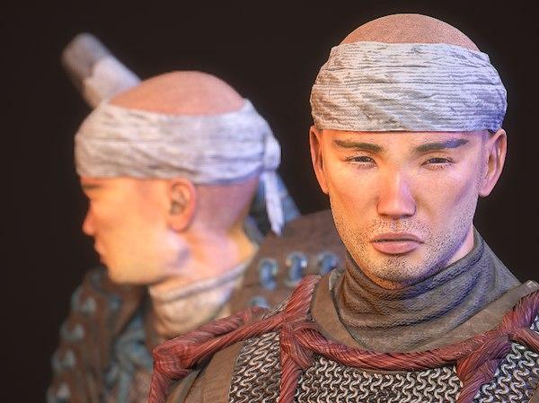 3D character feudal warrior model