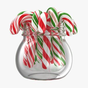 christmas candy cane jar model