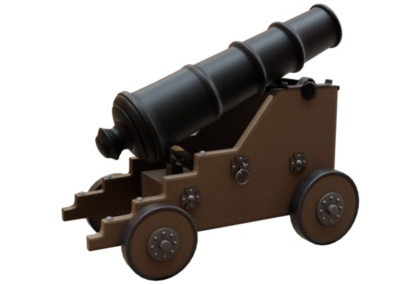 3D old naval cannon war