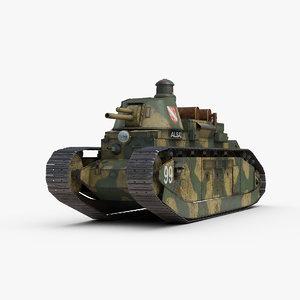 3D ww2 tank char fcm model