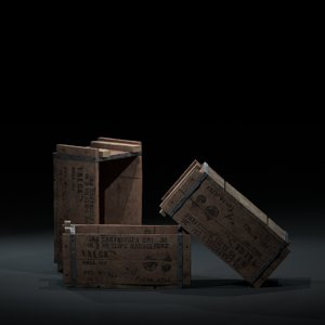 3D wooden crate ww2 model