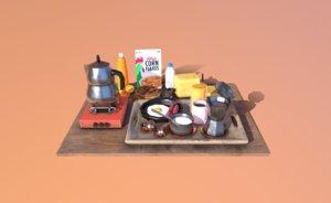 3D breakfast teapot pot