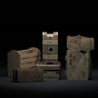 3D wooden crates ww2
