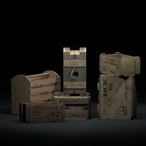 3D wooden crates ww2