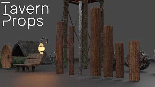 stylized tavern pack scene 3D model