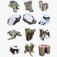 nature stumps rocks 3D model
