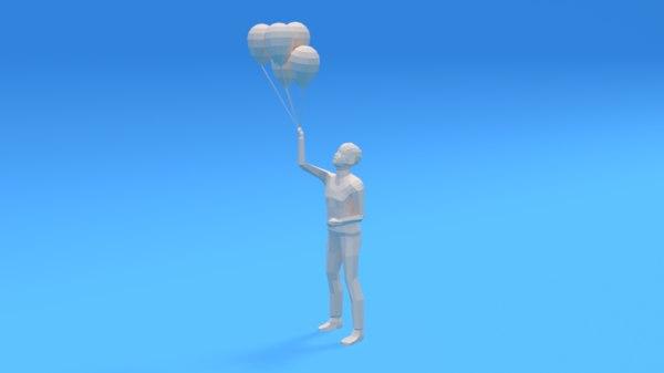 3D kid holding balloons