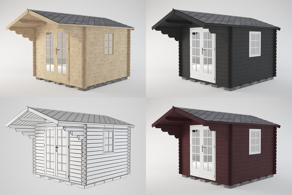 wooden shed wood 3D