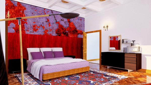 bedroom rug wood 3D
