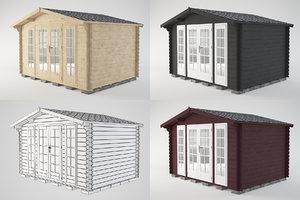 3D model wooden shed wood