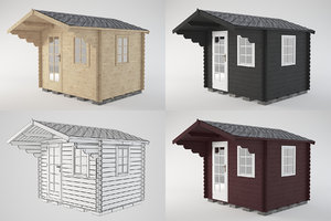 3D model wooden shed 3 wood