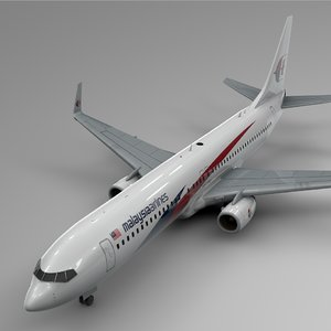 3D malaysia airlines boeing 737-800 model