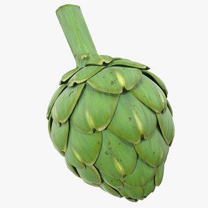 3D model artichoke vegetable vegetarian